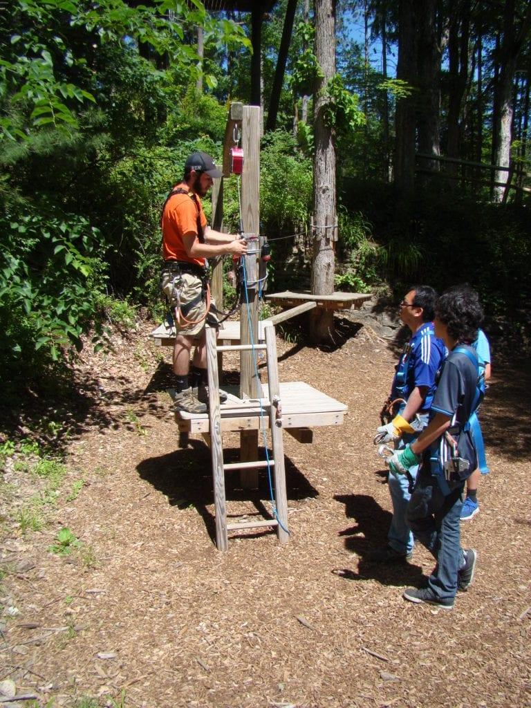 aerial ropes course at Pocono TreeVentures