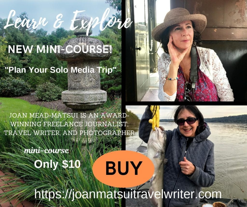 Plan Your Solo Media Trip is a high-value, low-cost mini-course available through joanmatsuitravelwriter.com. Learn practical tips from a four-time award-winning freelance travel journalist