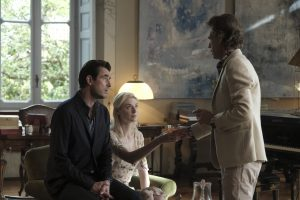 Left to Right: Claes Bang as James Figueras, Elizabeth Debicki as Berenice Hollis, Mick Jagger as Joseph Cassidy Photo by Jose Haro