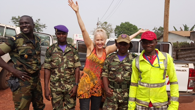 Cameroon soldiers safely escort the Whisperers and Witnesses film crew throughout Cameroon.