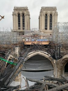 Inside Notre-Dame Cathedral work continues to restore the one of the France's historic cathedrals.